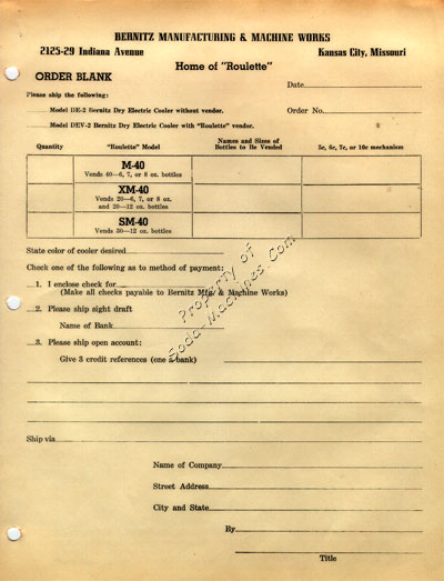 Bernitz Mfg. Order Blank Form